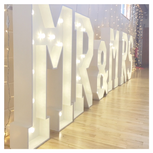 Mr & Mrs giant light up letters