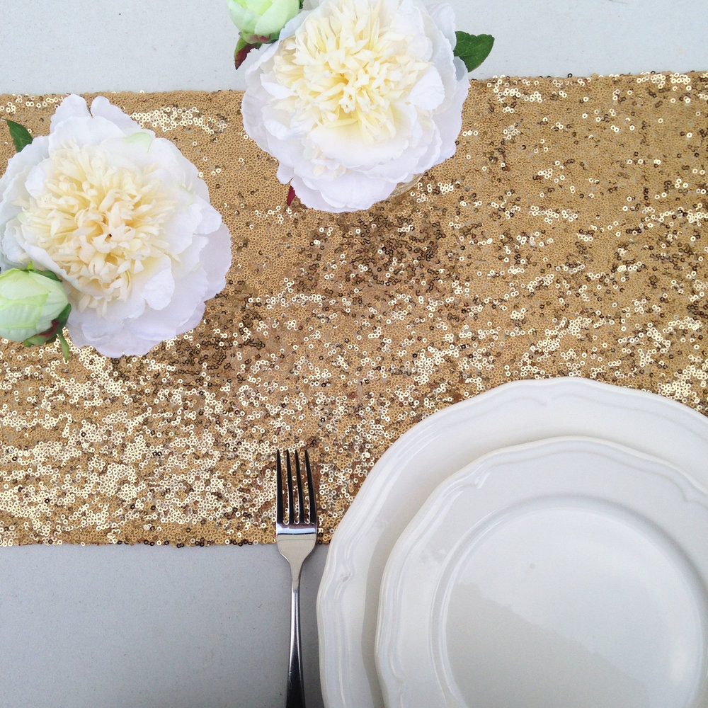 Antique Gold Sequin Table Runner to hire oxfordshire
