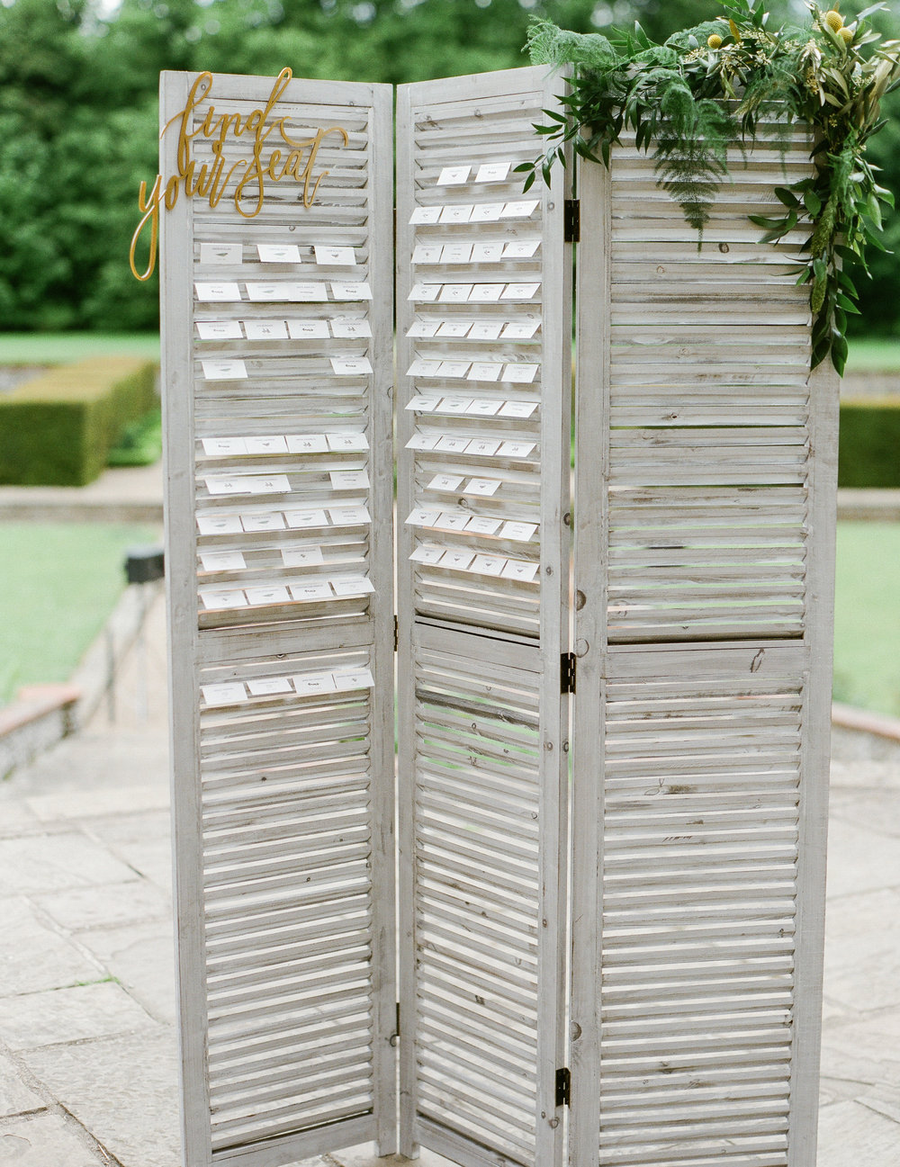 Grey Shutter Screen Table Plan Hire Oxfordshire