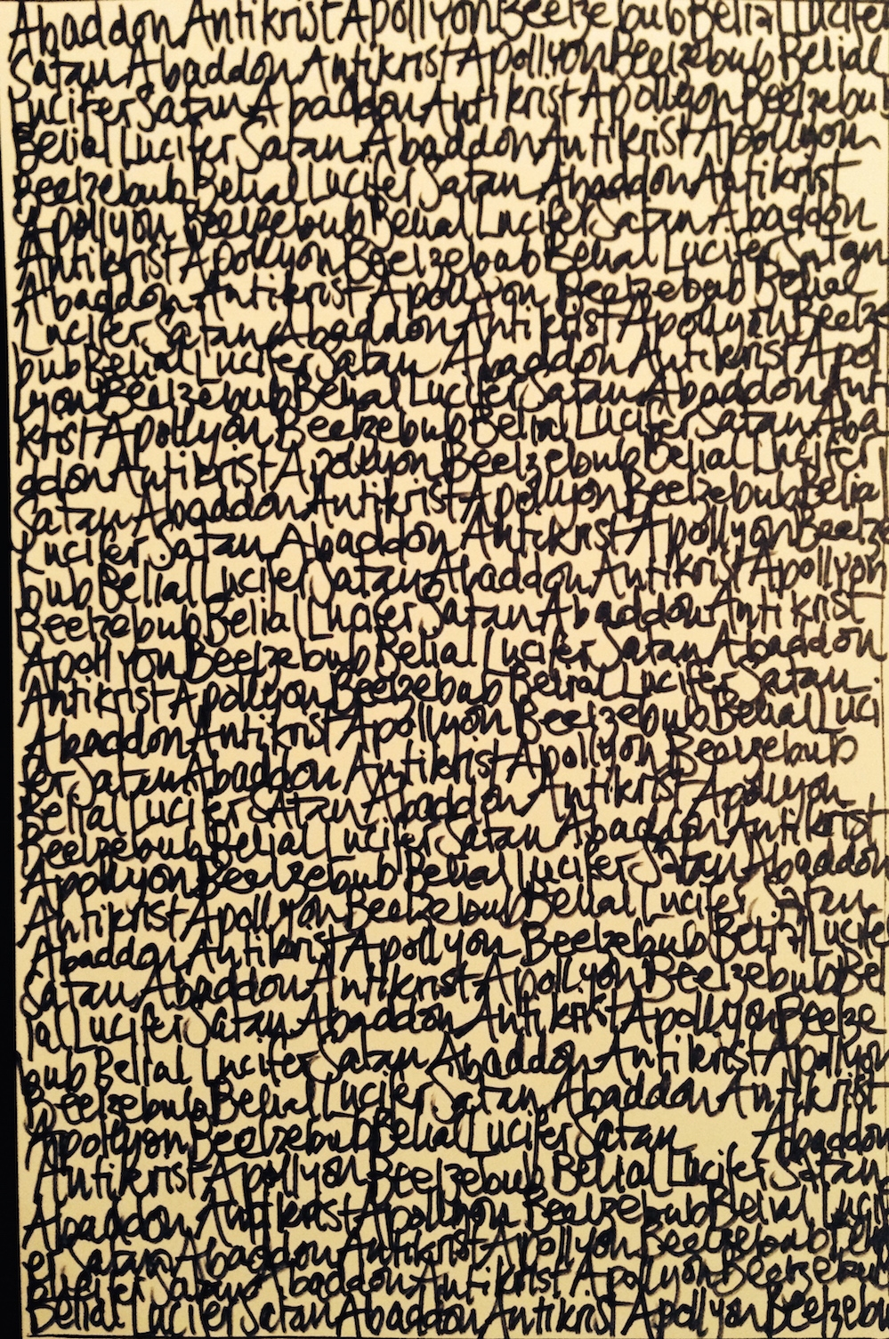 Devil´s palimpsest: will be finished when the ink spent writing Lucifer´s names blackens the entire page, at which point He appears in person.