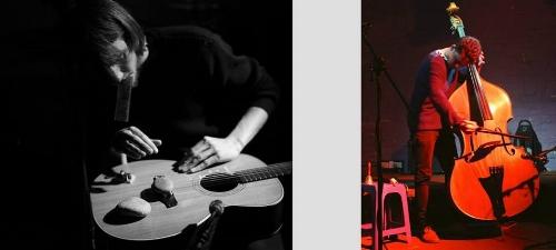 Hva kan man gjøre hvis man er to, har en kontrabass og en gitar og er dritgod til å spille på dem? Da kan man gjøre alt, tenker du kanskje?! Og jommen har du rett! Vi tar en ting av gangen: Denne kvelden skal Jonathan Heilbron og Fredrik Rasten spille lange toner og utforske klanglige detaljer og akustiske fenomener som har med intonasjon og dynamikk å gjøre. De sier de skal jobbe med forholdet mellom konsonans og dissonans og mellom tonalitet og lydlig tekstur. Konserten er startskuddet for en turné som går via Russland til Berlin. JONATHAN HEILBRON er australsk og spiller kontrabass. Han har markert seg med en bemerkelsesverdig musikalsk spennvidde som inkluderer alt fra klassisk orkestermusikk og samtidsmusikk via improv til støy og performance-opptredener -- En vittig rev som kan ta ting på alvor når det trengs. Slik har det seg at han har fått flere verk skrevet for seg, og har spilt under det legendariske feriekurset i Darmstadt, Impuls-festivalen i Graz og Bendigo International Festival of Exploratory Music, men også på MultiNo! i Oslo. Og selvsagt på Dans for voksne. Akkurat det har ikke FREDRIK RASTEN, men for tida konser han på hvordan han kan få ulike klanger ut av gitaren ved hjelp av ulike prepareringer. De steinene på bildet her, for eksempel. Andre ganger spilelr han mer utagerende, for eksempel med amerikaneren J Andrew Wilhite. Ellers kjenner du ham kanskje som en del av banda Oker og Pip. Eller fra Musikkhøgskolen... Det koster hundre spenn å komme inn, og konserten sgtarter nokså presis.