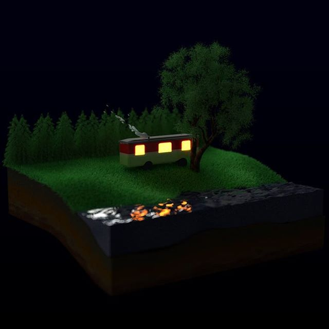 Good night everybody! . . . #cinema4d #c4d #render #redshift #trailer #night #light #3d #3drendering #hair #toys #home #tinyhouse #trees