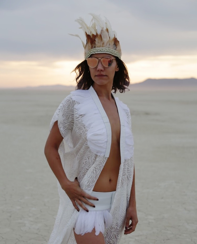 Womens all white feather collar kimono and feather crown headdress, festival outfits perfect for burning man