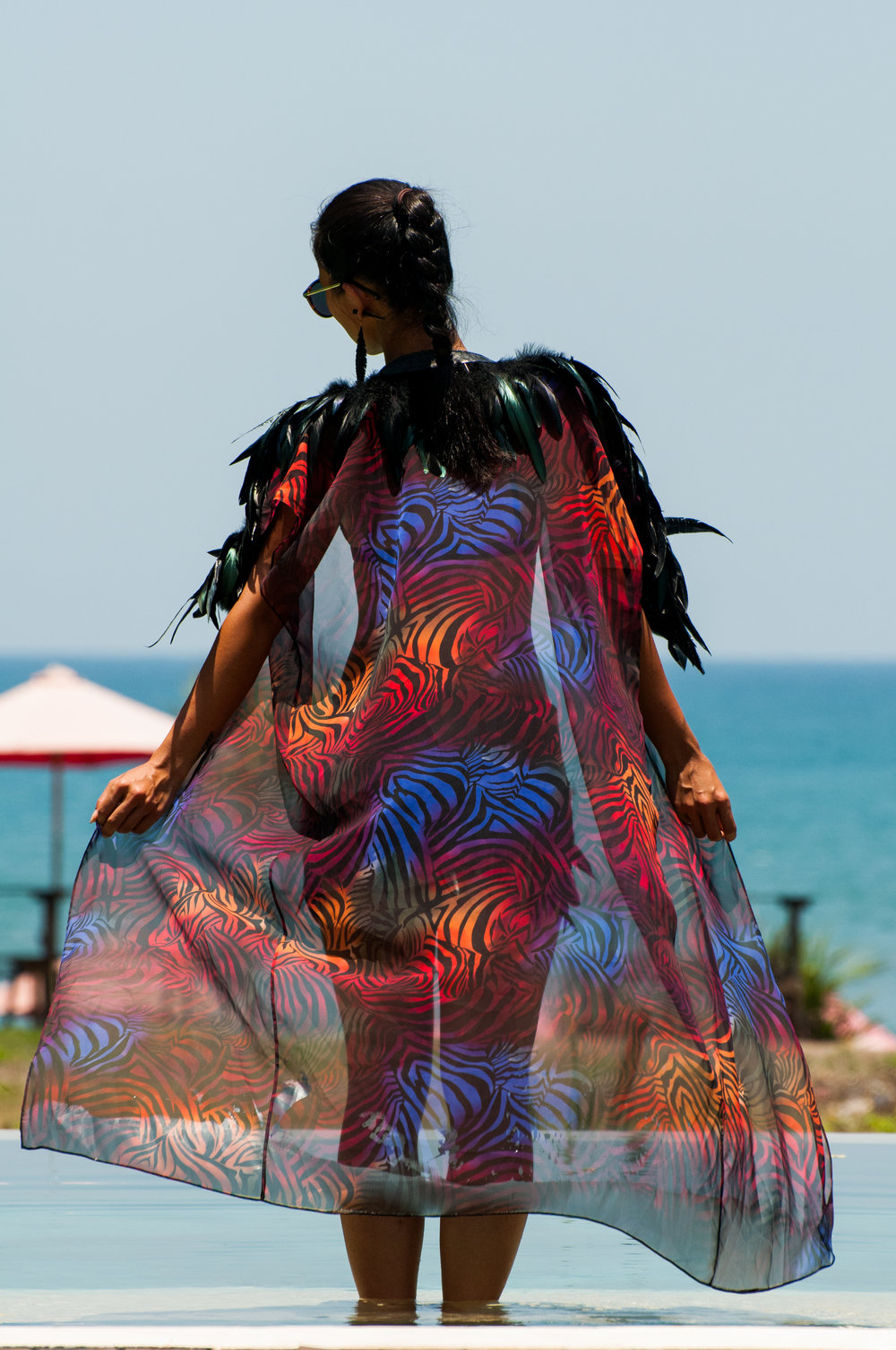 Love Khaos Rainbow Zebra Feather Kimono