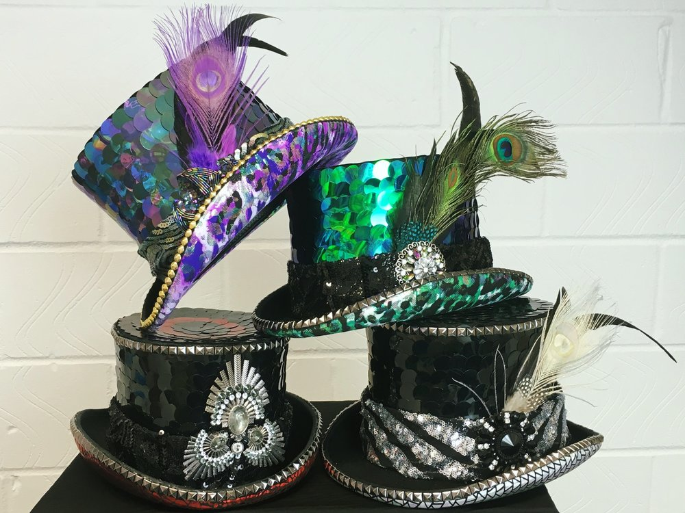 09c302d26bc81 Custom made top Hats for burning man with LED Lights