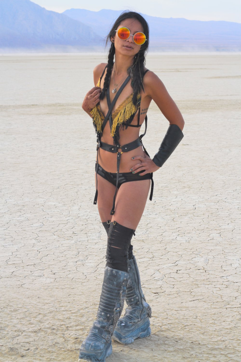 leather harness and fringe lingerie