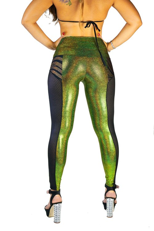 3a70493f9ba077 festival style high waisted holographic green leggings with gold zebra and  faux black perforated leather side