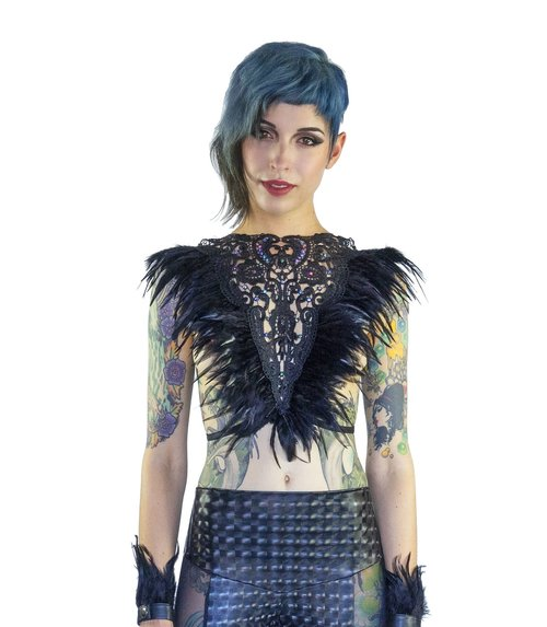 68d8633d9f0 ... Victorian inspired Black lace feather bralette for festivals