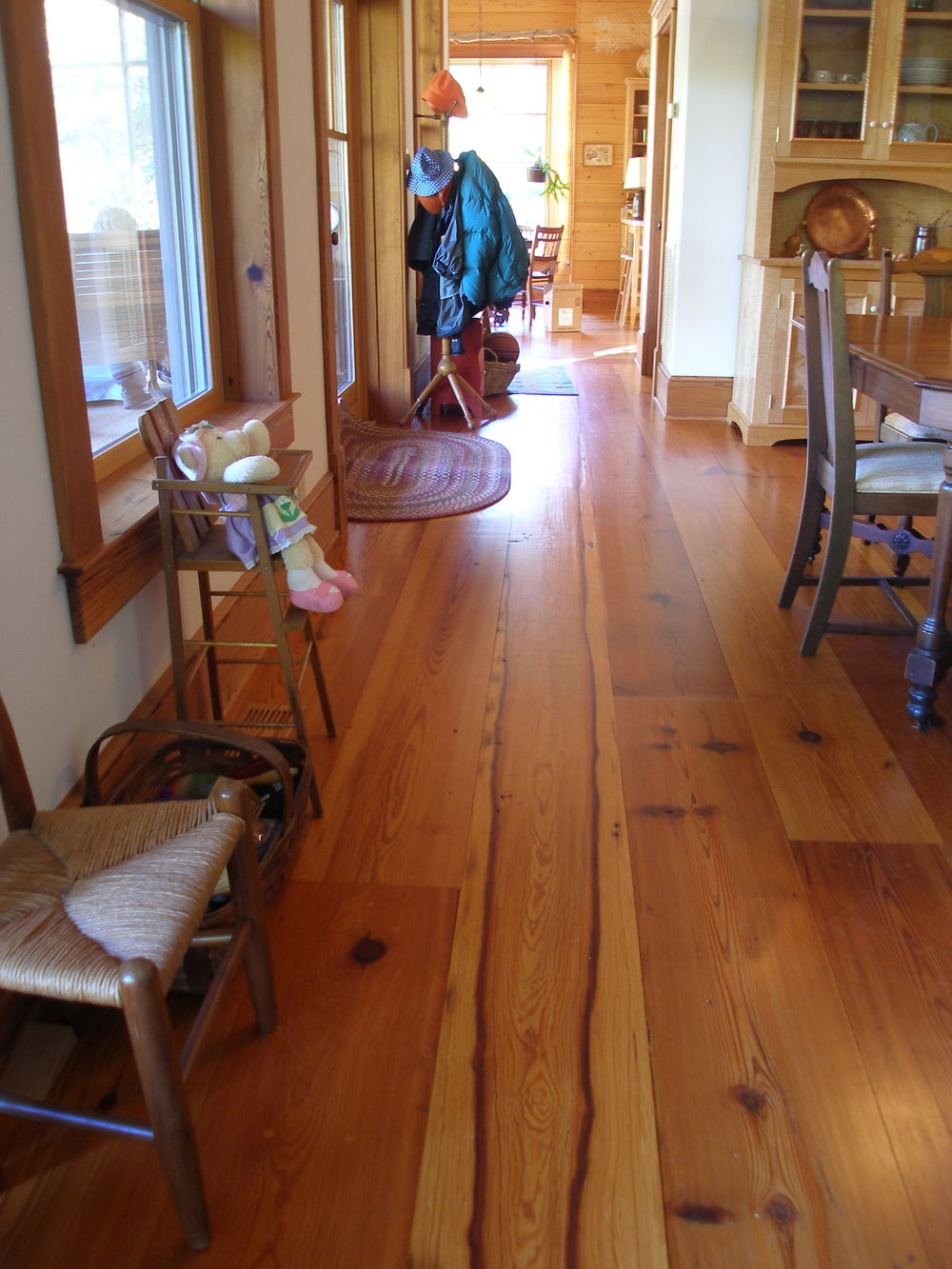 Special figure in wide heart pine floor boards.