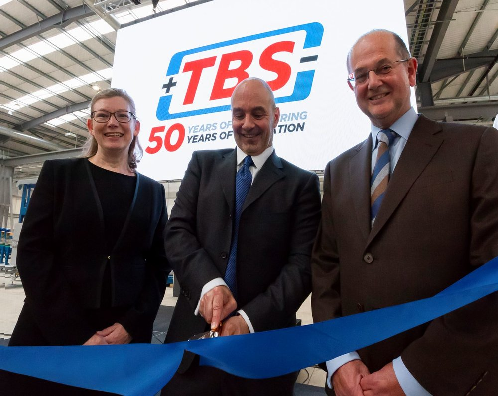 From left to right: Viv Empson, TBS Group Finance & HR Director, Tom Valvo, MiTek Industries Chief Operating Officer, and David Longney, TBS Group Managing Director