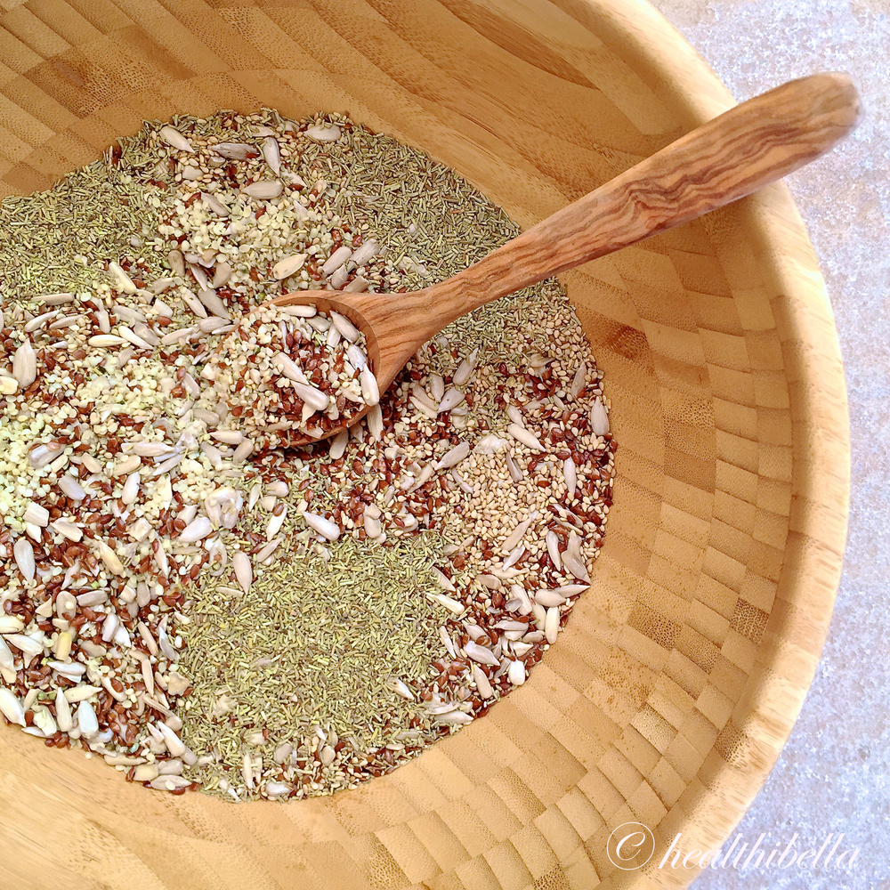 cracked flax, sunflower, hemp, and sesame seeds