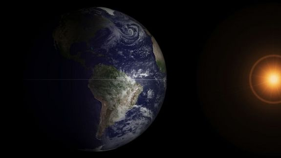 The earth on the Spring Equinox.Photo:National Oceanographic and Atmospheric Administration's GOES-13 satellite