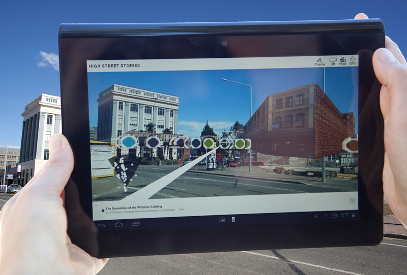 The High Street Stories Augmented Reality app. showing the geo-tagged stories. Credit: Heritage New Zealand. Photo: Guy Frederick