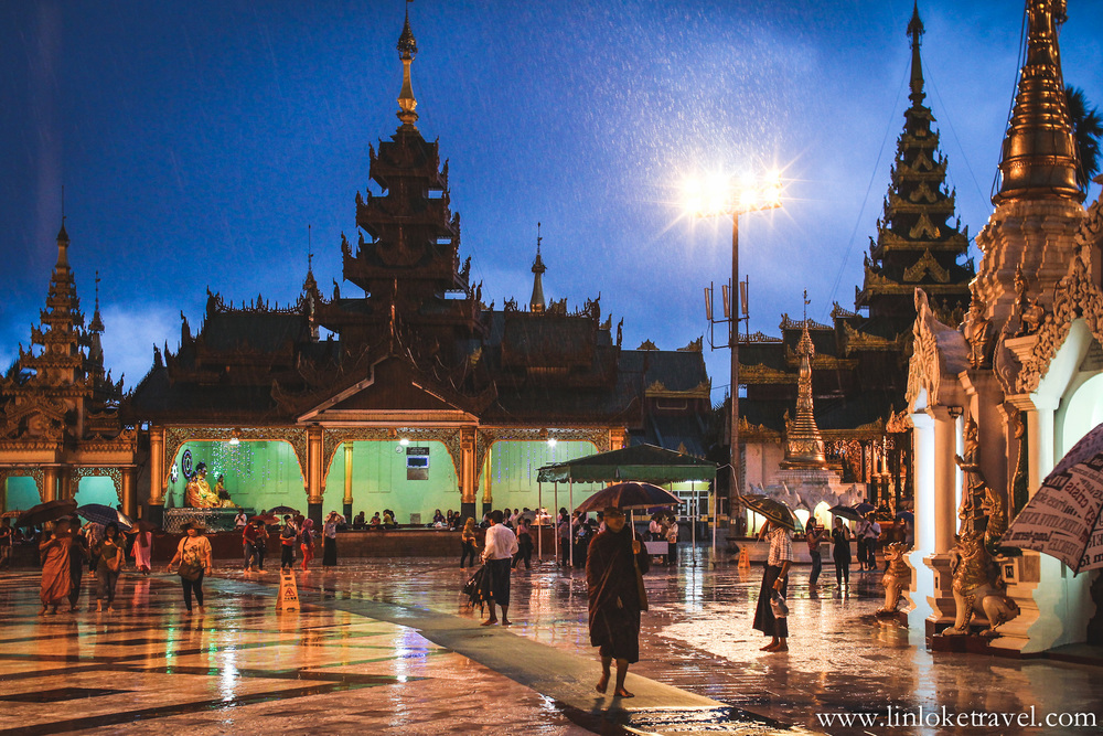 Shwedagon Pagoda on a rainy night