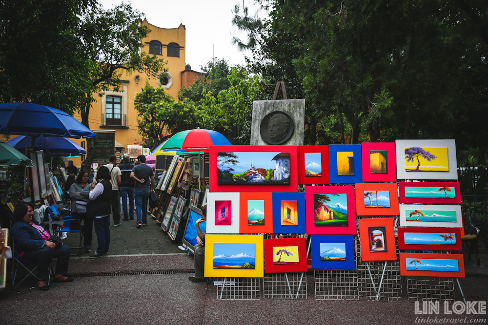 Artists selling their work in Plaza San Jacinto during the Saturday Market