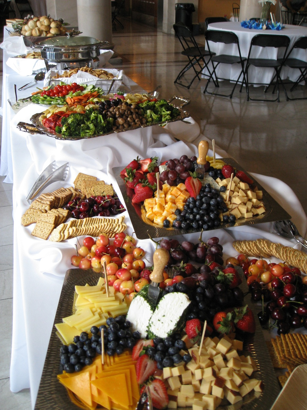 Everyday gourmet food platters on table