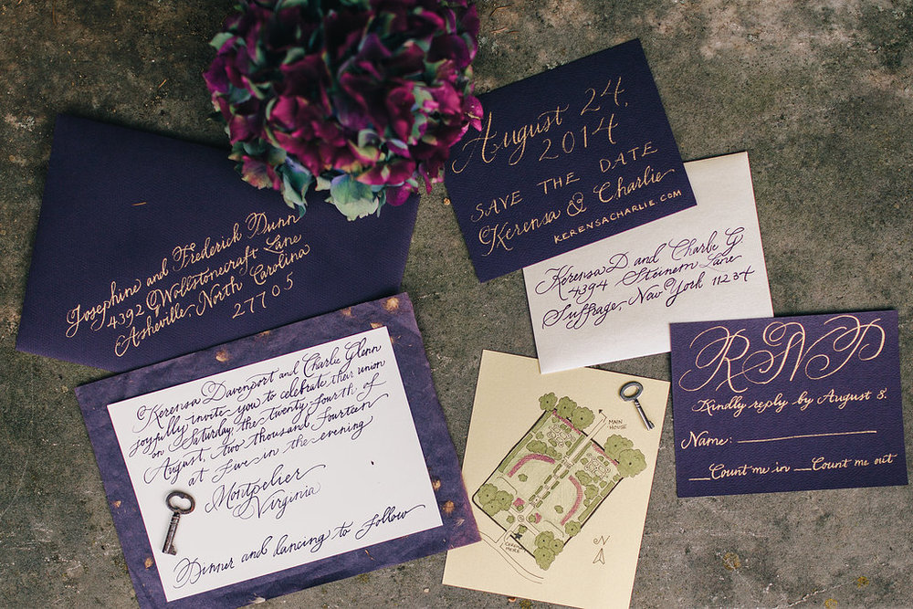 Map  by A Pocket Novel,  Calligraphy  by Bluestocking Calligraphy,  Photo  by carly romeo & co.