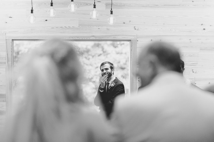 Betty Clicker Wedding Photography groom seeing bride