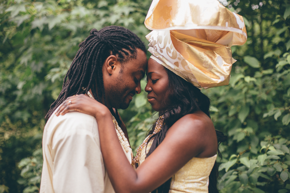 Lawrencia and Val in their traditional African wear during their engagement shoot