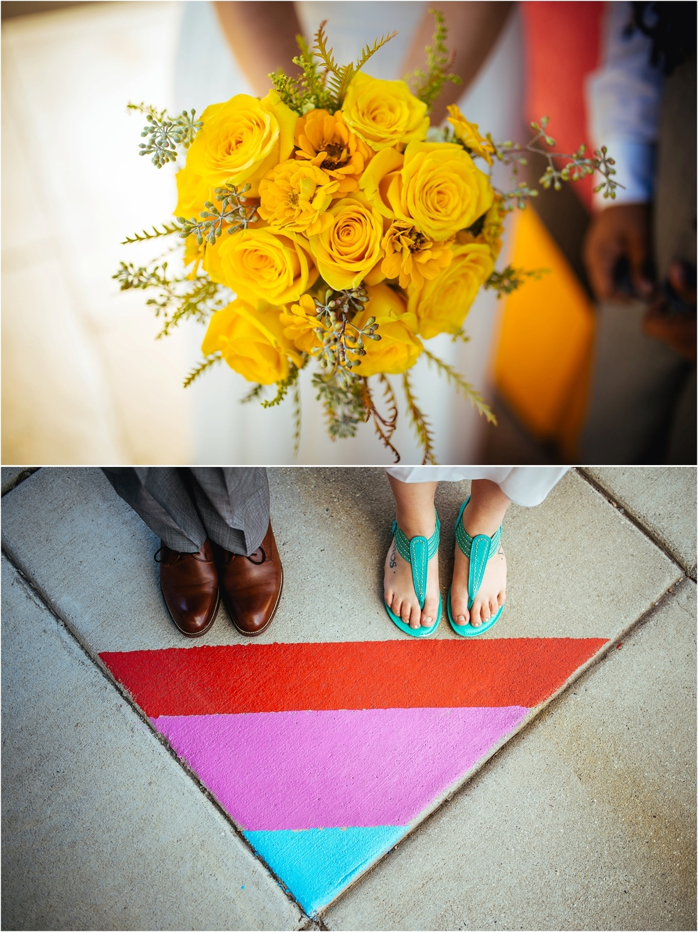 A Lovely Photo Wedding Photography brides' feet by triangle painted on sidewalk and bouquet