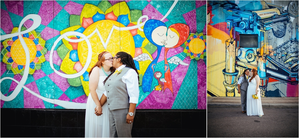 A Lovely Photo Wedding Photography kiss in front of mural and couple in front of mural