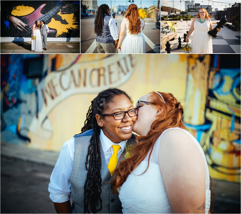 A Lovely Photo Wedding Photography walking down street, kiss on cheek, and couple in front of mural