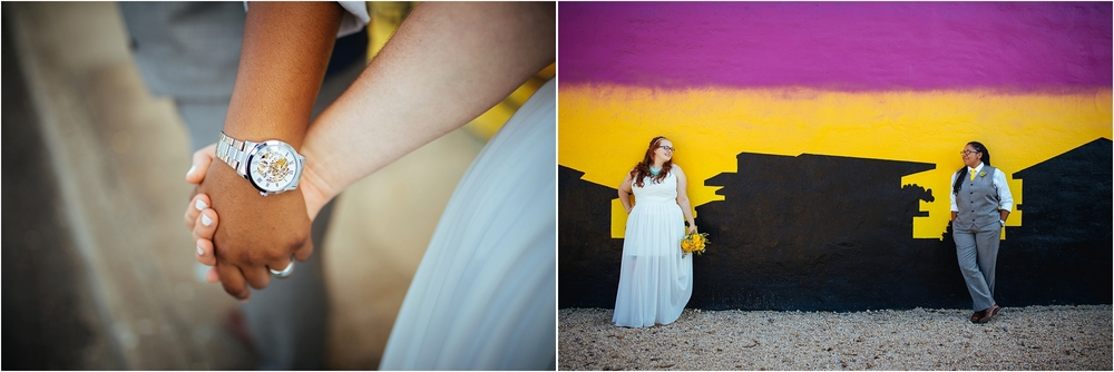 A Lovely Photo Wedding Photography holding hands and couple in front of mural