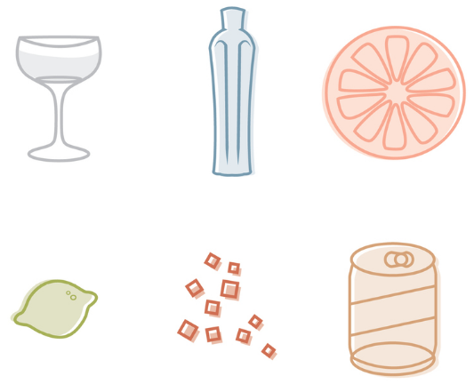 anna thompson illustration of drink ingredients