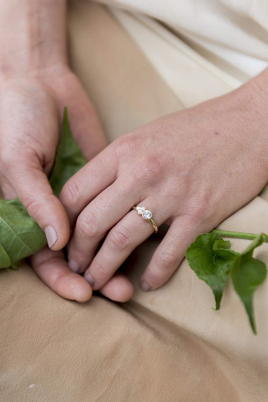 Elaine B Jewelry model wearing diamond ring