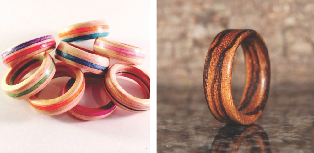 Rings by  Skate Betty  and  Olive Wood Jewellery