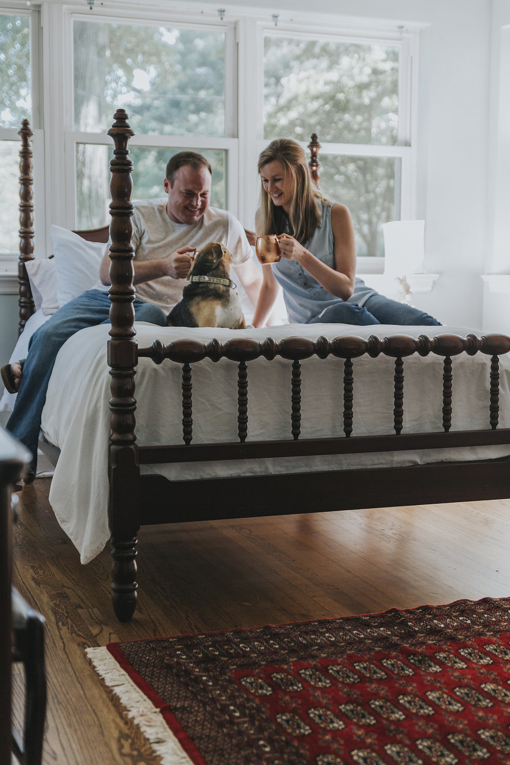 Kaitlyn Stoddard Wedding Photography Tennessee enjoying drinks on bed