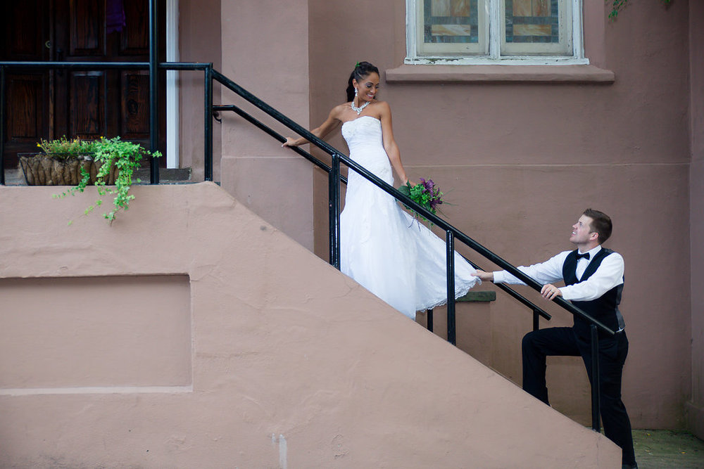 Megan Dickerson Wedding Photography North Carolina couple ascending steps
