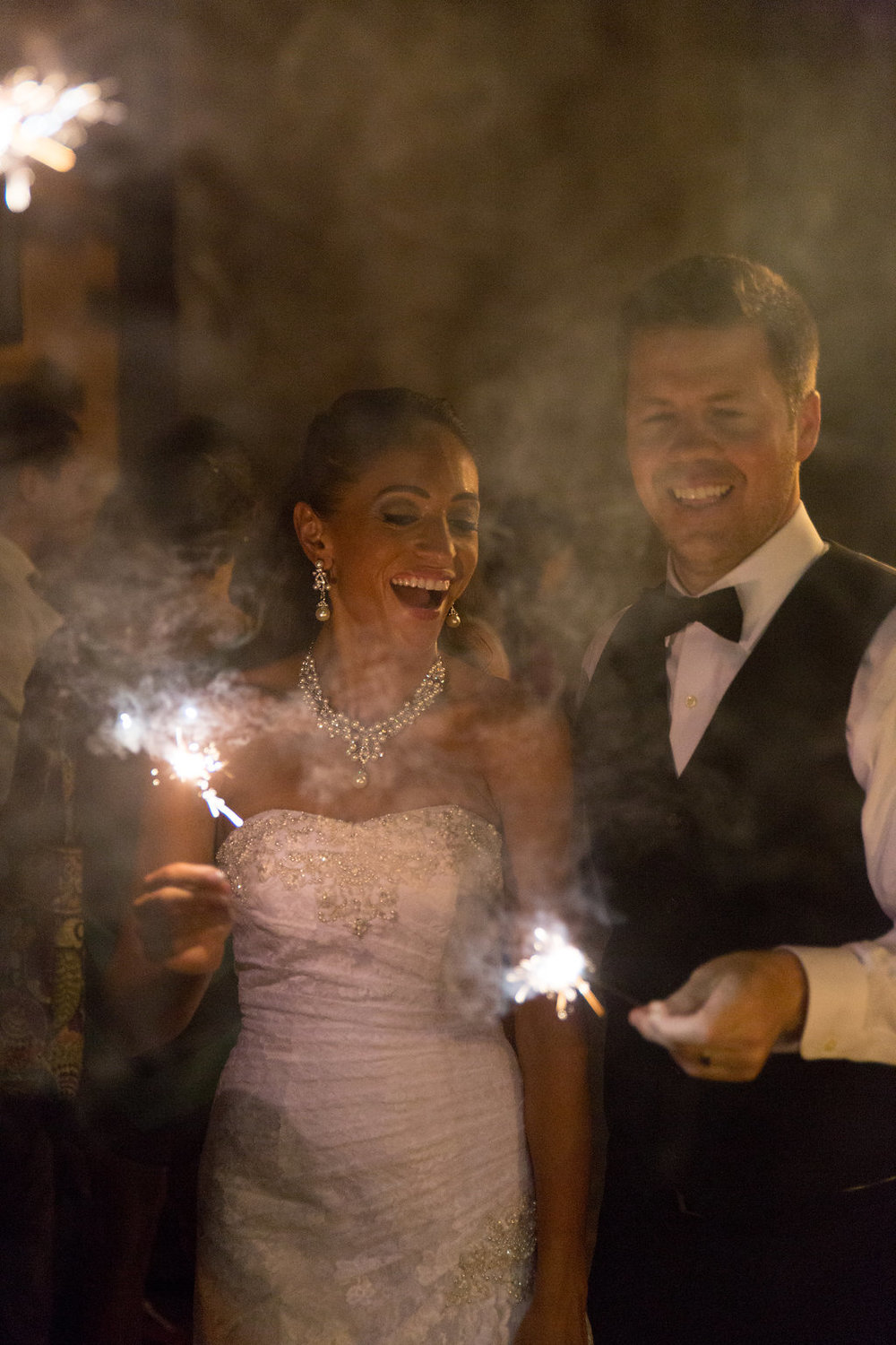 Megan Dickerson Wedding Photography North Carolina couple with sparklers