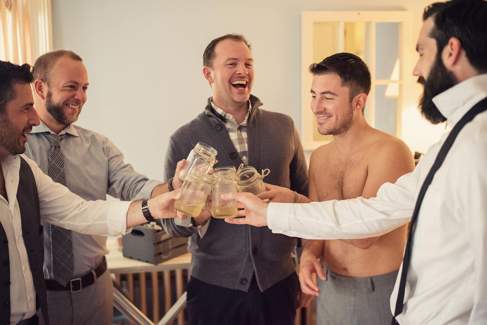 Ella Sophie Wedding Photography groomsmen having drinks