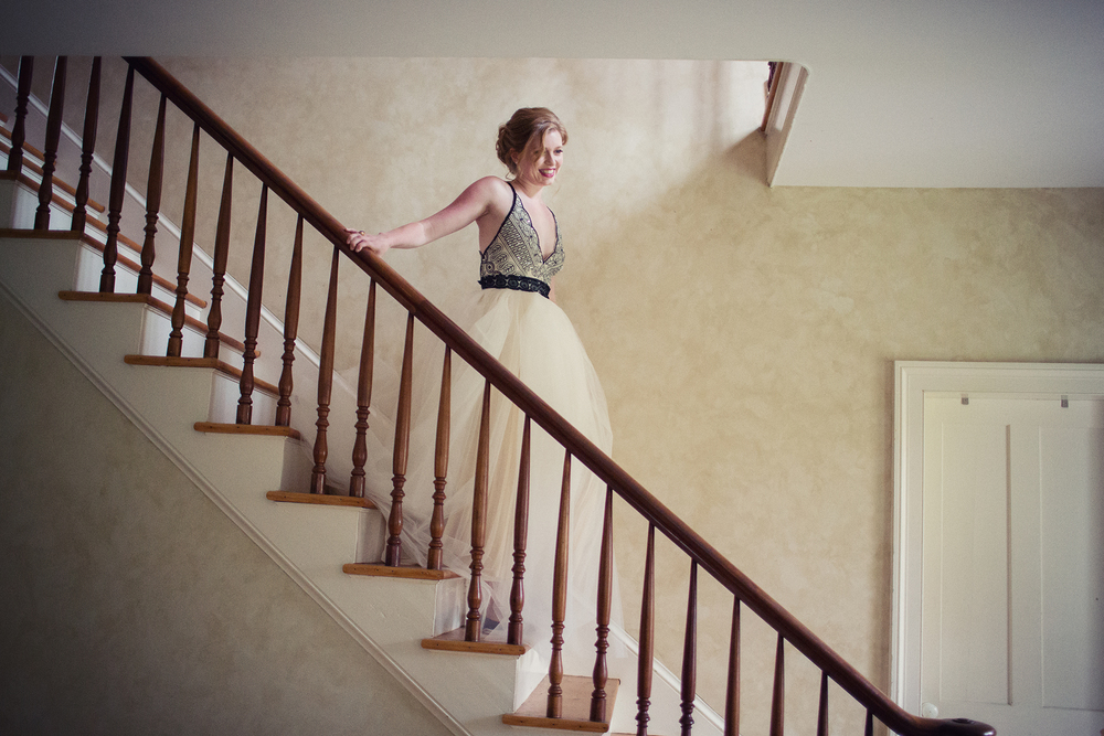 Ella Sophie Wedding Photography bride descends stairs