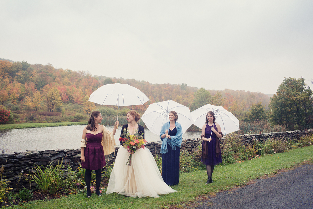 Ella Sophie Wedding Photography bride and bridesmaids with umbrellas
