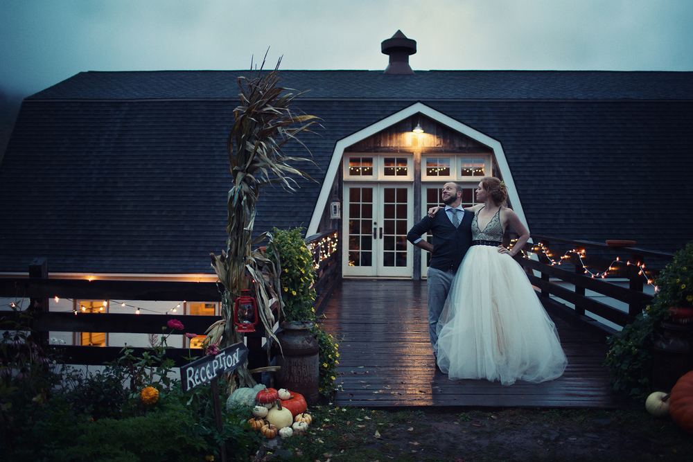 Ella Sophie Wedding Photography couple outside barn/reception hall