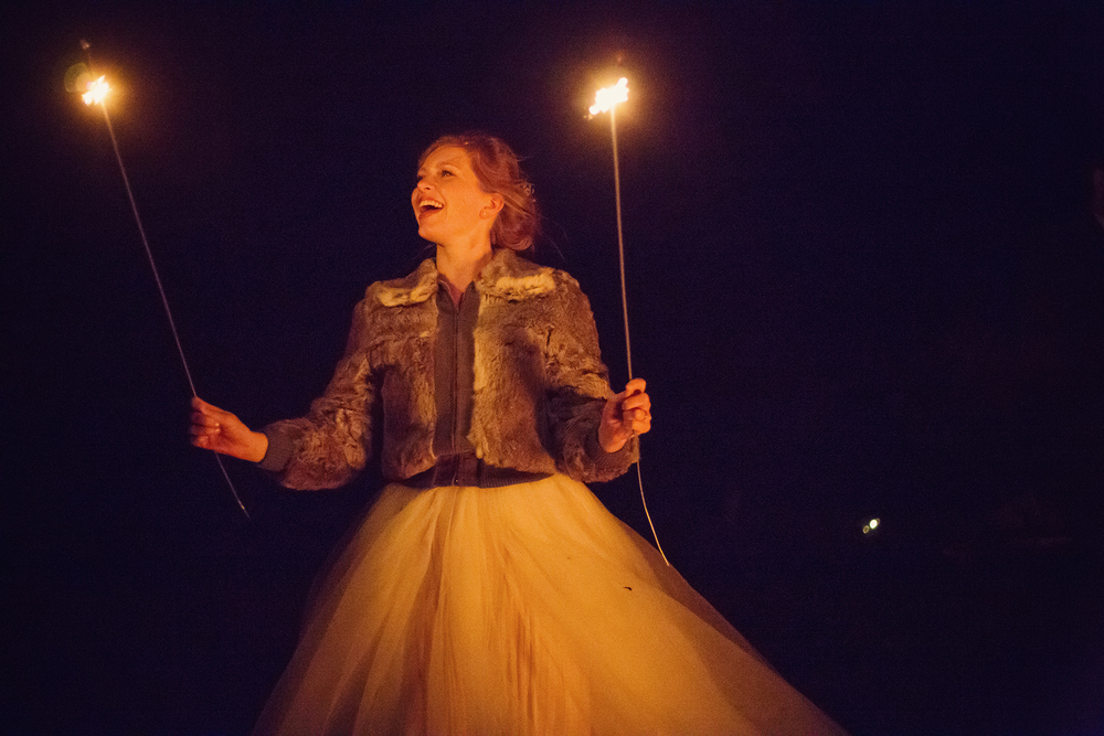 Ella Sophie Wedding Photography bride holding long sparklers