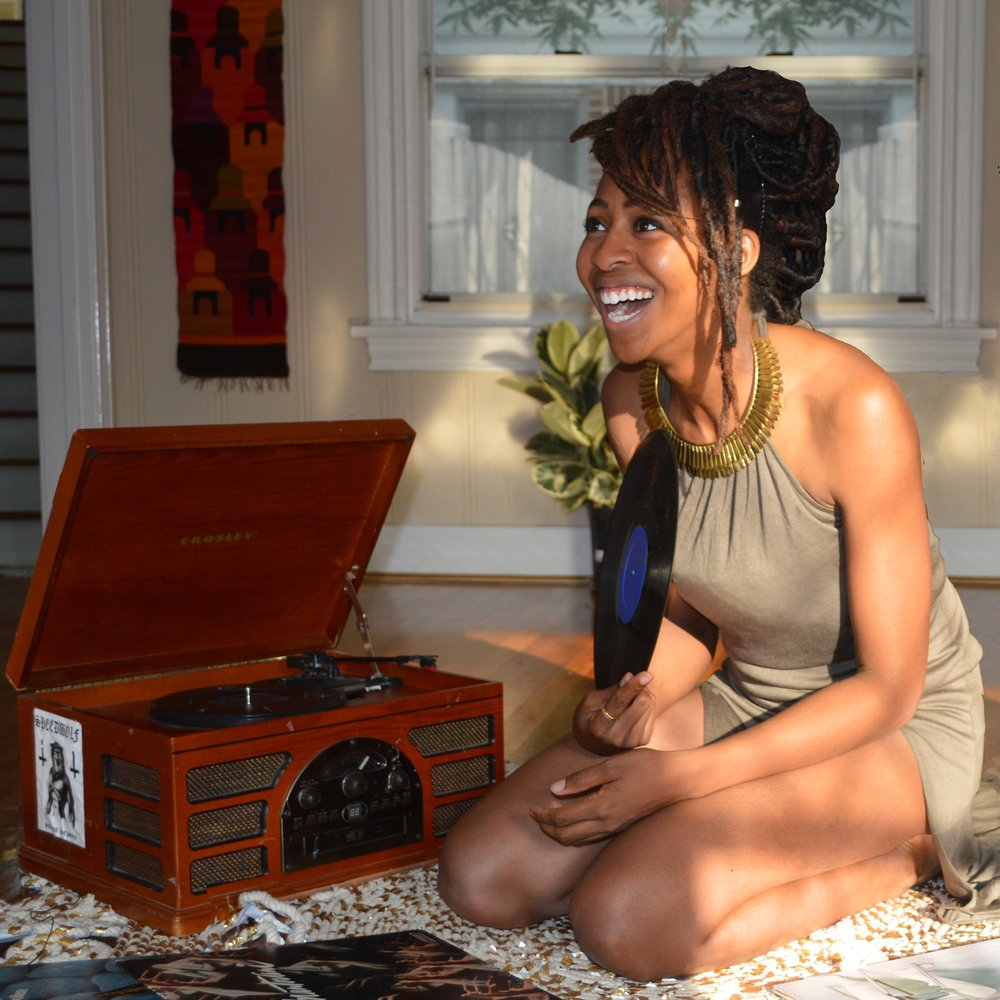 Amarie baker with old-fashioned record player
