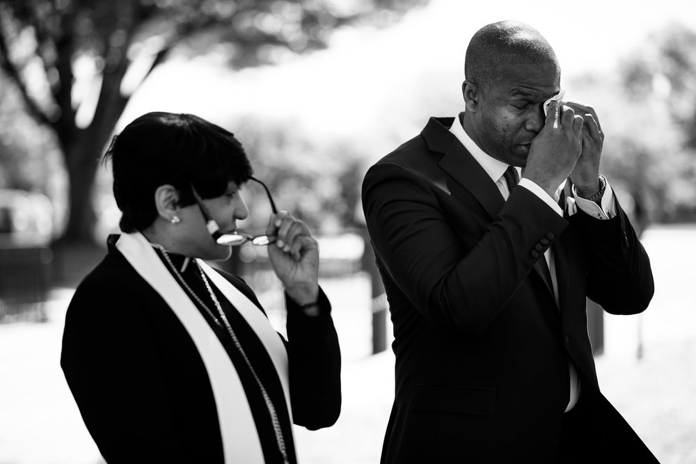 The Madious Wedding Photography DC groom dabbing teary eyes