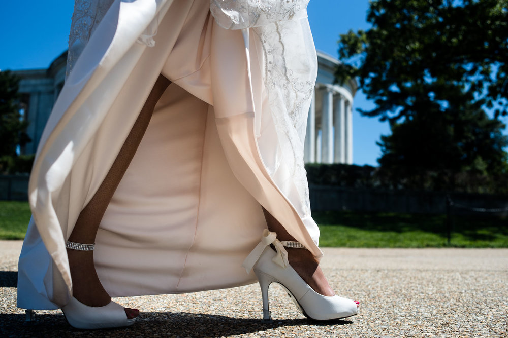 The Madious Wedding Photography DC close-up of bride's shoes as she walks