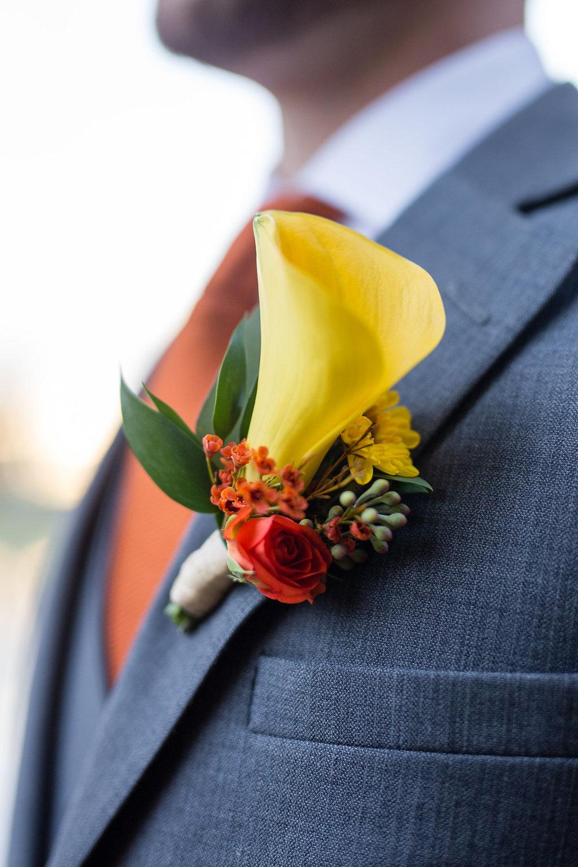 Corey and Alex Larrison Wedding Photography Cincinnati yellow lapel flower