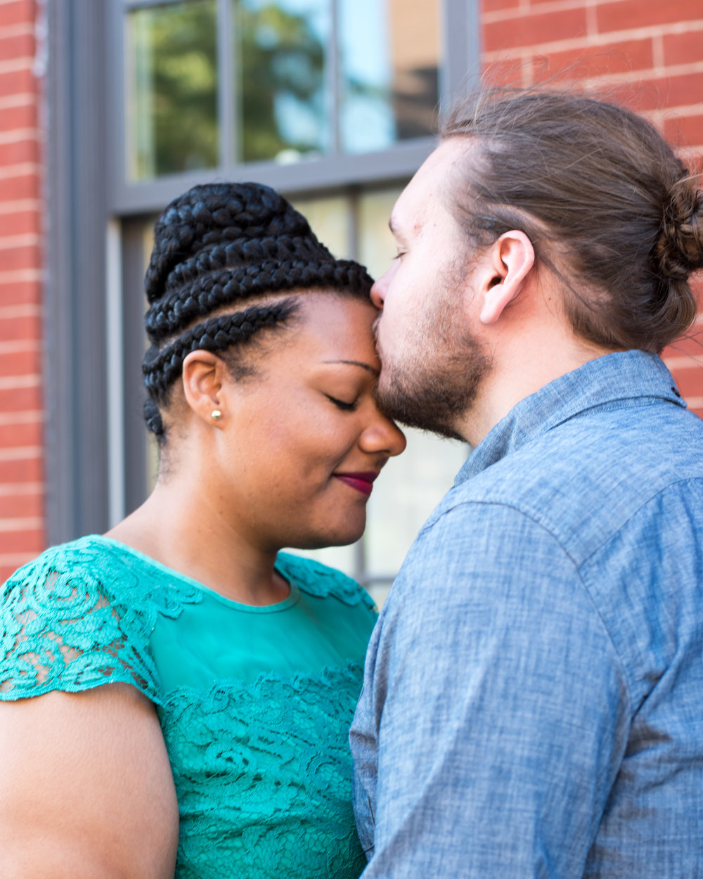 Ronnie Bliss Wedding Photography Baltimore Maryland man kisses fiancée's forehead