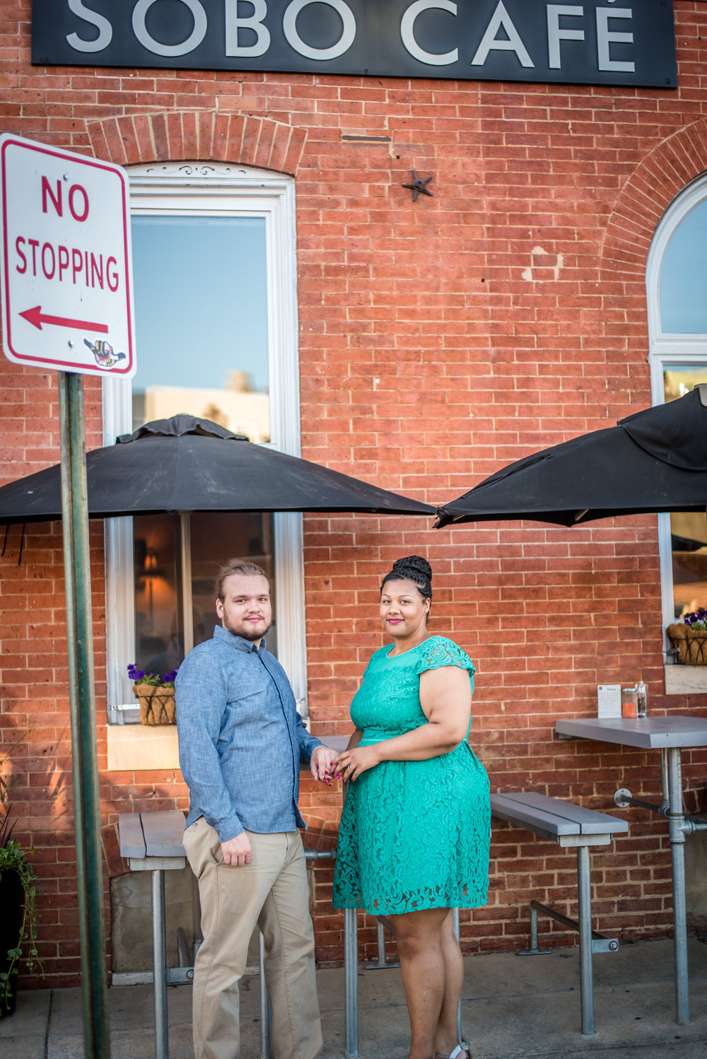 Ronnie Bliss Wedding Photography Baltimore Maryland couple in front of sobo café