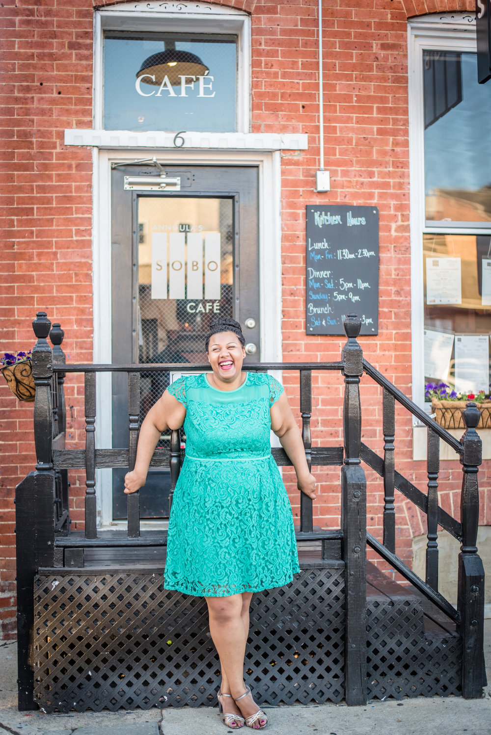 Ronnie Bliss Wedding Photography Baltimore Maryland bride in front of café