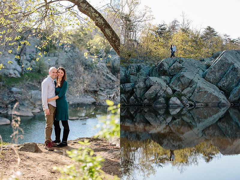 Erika Nizborski Wedding Photography DC engagement photos of couple by river