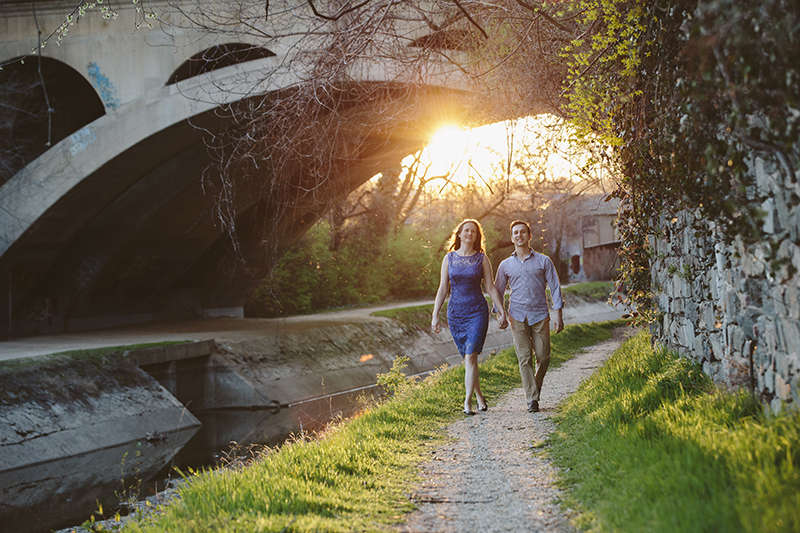 Erika Nizborski Wedding Photography DC couple holding hands walking down a path