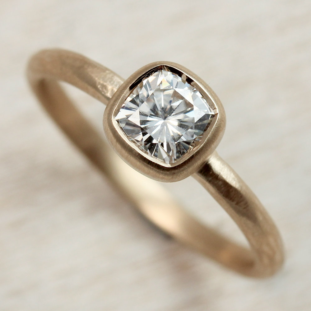 5mm Rustic Cushion Cut Engagement Ring