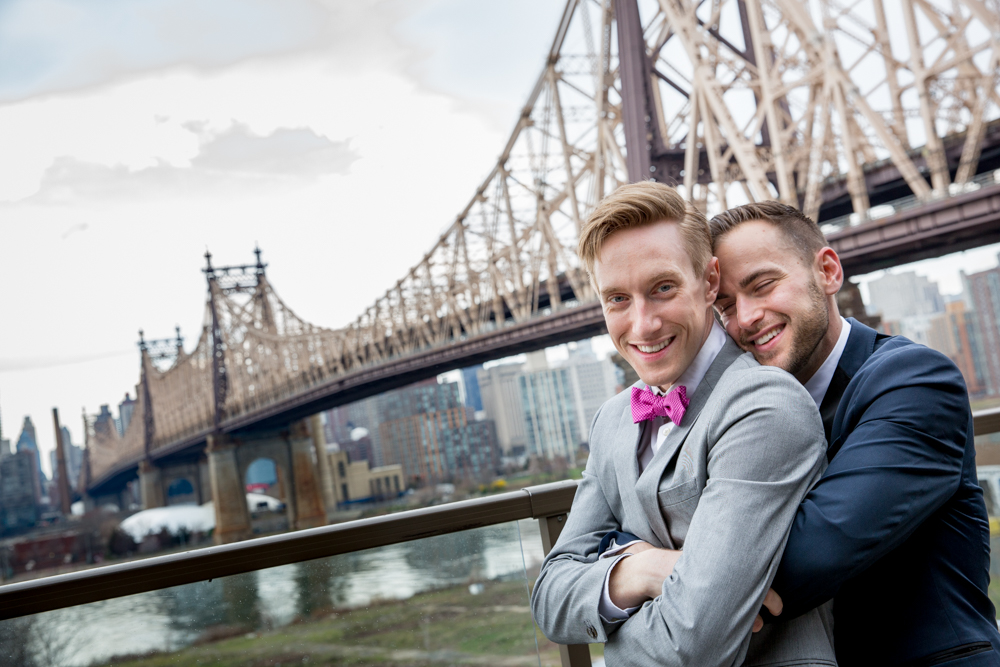 Justin McCallum Wedding Photography New York embrace in front of bridge