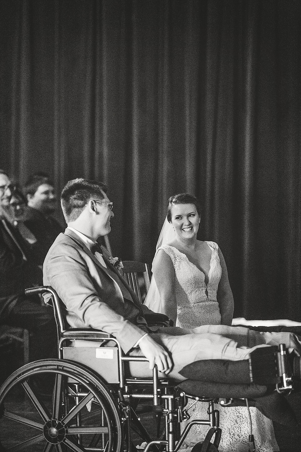 Izzy Hudgins Wedding Photography bride and groom smiling during ceremony